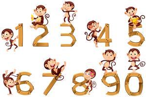 Nummer eins bis zehn mit Affen vektor