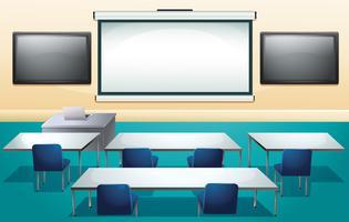 Klassenzimmer mit Bildschirmen und Tischen