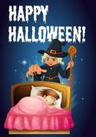 Eine Halloween-Vorlage mit einer Hexe vektor
