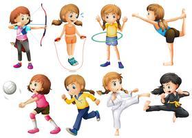 Mädchen, die verschiedene Sportarten ausüben vektor