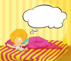 En ung tjej drömmer