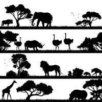 afrikanskt landskaps silhuett