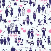 Familjens sömlösa mönster vektor