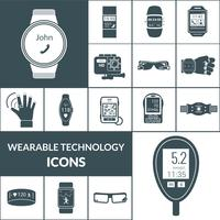 Wearable Technologies Icons Schwarz vektor