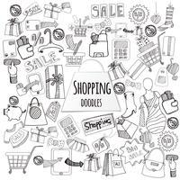 Einkaufen-Gekritzel-Satz