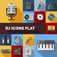 DJ-Icons flach gesetzt vektor