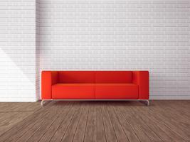 Röd soffa i rummet