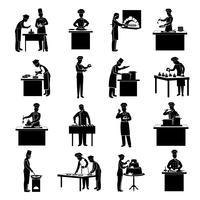 Icons schwarz kochen vektor