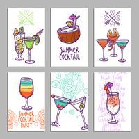 Kort med cocktails vektor