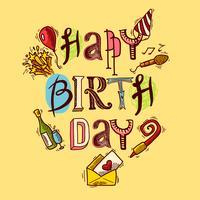 Födelsedags kort skiss vektor