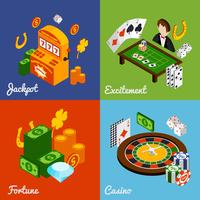 casino isometrisk uppsättning vektor