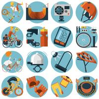 Radfahren flache Runde Icons Set