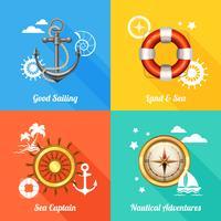 Nautisk designkoncept 4 platta ikoner