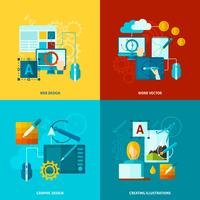 Grafikdesign-Ikonen flach