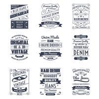 Denim typografi logotypen emblem set