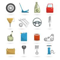 Auto-Service-Symbole flach