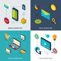 marknadsföring isometrisk uppsättning