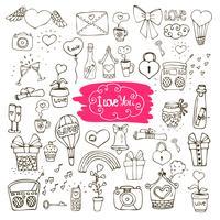 kärlek doodle ikoner vektor
