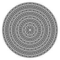 Monokromatiska etniska sömlösa texturer. Rund ornamental vektor form isolerad på vitt. Oriental arabesque mönster bakgrund. Vektor illustration