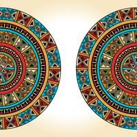 Ethnisches traditionelles buntes helles halbes rundes Muster auf beige Hintergrund