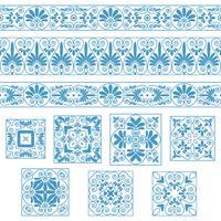 Legen Sie Sammlungen alter griechischer Ornamente fest. Antike Bordüren und Fliesen in weißen und blauen Farben