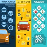 Auto Service Vertikal Banner Set vektor