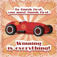 Eine Retro-Sportwagenpostkarte