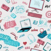 Seamless doodle sociala medier bakgrund vektor
