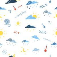 Seamless väderprognosmönster vektor