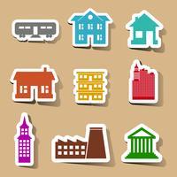 Gebäudeikonen eingestellt auf Farbaufkleber