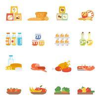 Supermarkt Lebensmittel Set vektor