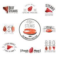 Steak house etiketter samling vektor