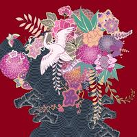 Vintage kimono blommigt motiv vektor