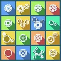 Samling av kuggar och kugghjul ikoner uppsättning