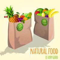 Früchte im Papiertaschendruck