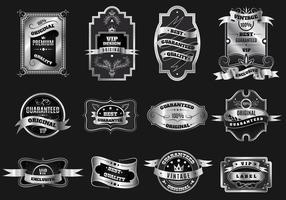 Retro ursprüngliche silberne Embleme beschriftet Sammlung vektor