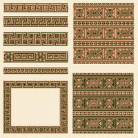 Vektor uppsättningar av etniska Grekland designelement. Ornamentala sömlösa mönster, ram och gränsar
