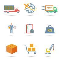 Logistik ikoner platt