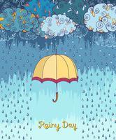 Doodles regniga väder dekorativa affischen vektor