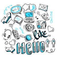 Doodle-Social-Media-Zeichen vektor
