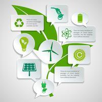 Infografik mit Ökologie- und Energiepapierblasen