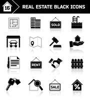 Fastighetsikoner svart vektor