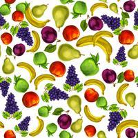 Sömlös blandad frukt mönster bakgrund vektor