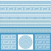 Vektor uppsättningar av etniska Grekland designelement. Ornamentala sömlösa mönster och gränser