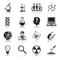 Kemi eller biologi vetenskap ikoner uppsättning