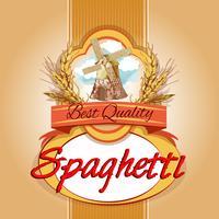 Spaghetti-Packetikett vektor