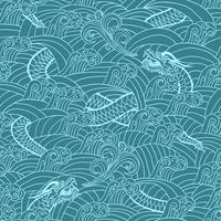 Asiatiskt mönster med drakebakgrund vektor