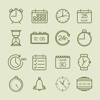 enkla tids- och kalenderikoner vektor
