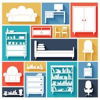 Möbler ikoner uppsättning