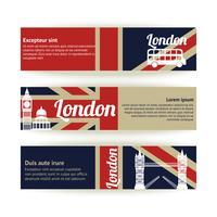 Samling av banderoller och band med Londons landmärken
